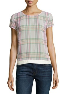 J Brand Ready to Wear Sheer Plaid Blouse