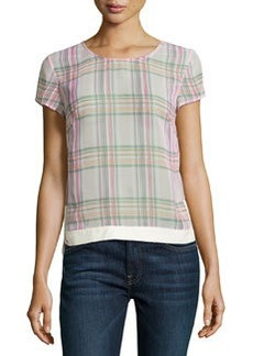 J Brand Ready to Wear Sheer Plaid Blouse, Masai/Wild