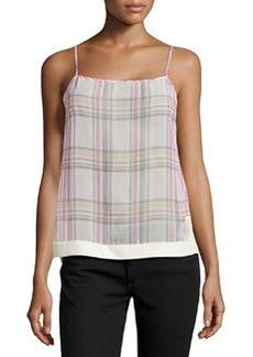 J Brand Ready to Wear Sheer Plaid Tank, Masai/Wild