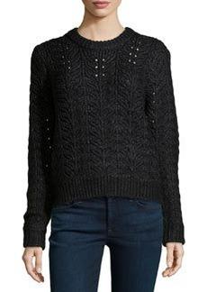 J Brand Ready to Wear Shimmery Knit Beaded Sweater, Black