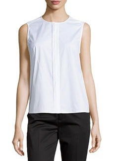 J Brand Ready to Wear Sleeveless Concealed-Placket Blouse, White