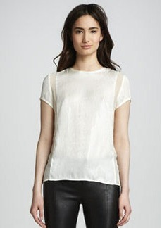 J Brand Ready to Wear Sontang Sheer-Inset Blouse