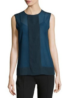 J Brand Ready to Wear Two-Tone Chiffon Sleeveless Blouse, Blueberry/Black
