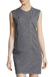 J Brand Ready to Wear Zip-Front Sleeveless Sweatshirt Dress, Heather Gray