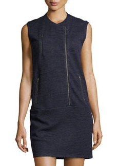 J Brand Ready to Wear Zip-Front Sleeveless Sweatshirt Dress, Navy Heather