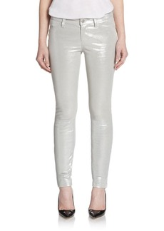 J Brand Silver Crystal Metallic Leather Skinny Jeans