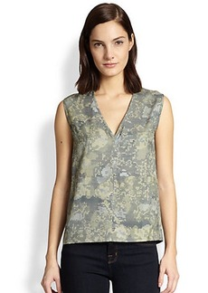 J Brand Sleeveless Wool-Silk Camouflage-Print Top