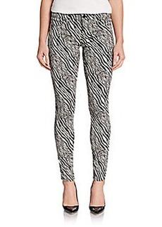 J Brand Super-Skinny Printed Mid-Rise Pants