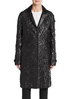 J Brand Sutterton Leather Applique Coat