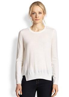 J Brand Theodate Sheer Chiffon-Back Wool Sweater