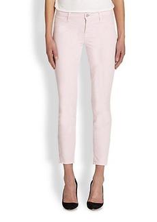 J Brand Twill Ankle-Zip Skinny Jeans