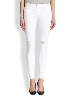 J Brand White Rock Destructed Skinny Jeans