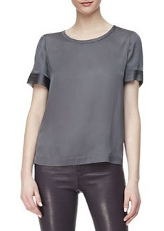 Juju Short-Sleeve Silk Blouse   Juju Short-Sleeve Silk Blouse
