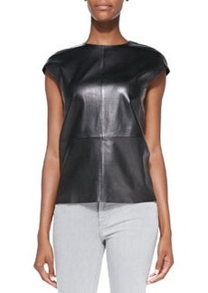 Karo Cap-Sleeve Leather Top   Karo Cap-Sleeve Leather Top