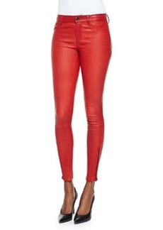 Leather Zipper-Cuff Skinny Pants, Rebel Red   Leather Zipper-Cuff Skinny Pants, Rebel Red