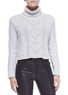 Maddie Turtleneck Sweater W/ Cable-Knit Front   Maddie Turtleneck Sweater W/ Cable-Knit Front