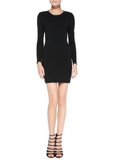 Noemie Leather-Trim Long-Sleeve Fitted Knit Dress   Noemie Leather-Trim Long-Sleeve Fitted Knit Dress