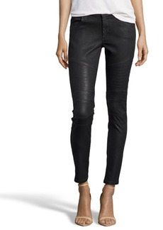James Jeans black coated stretch cotton denim 'Moto' skinny jeans