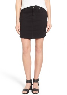 James Jeans Cutoff Denim Skirt (Destroyed Black)