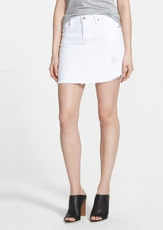 James Jeans Denim Cutoff Miniskirt (White Opaque)