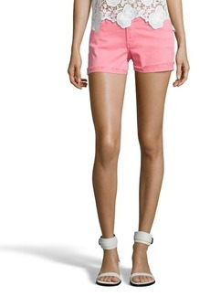 James Jeans flamingo pink stretch denim 'Shorty' frayed shorts