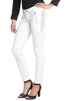 James Jeans frost white 'Trixie' beaded detail skinny jeans