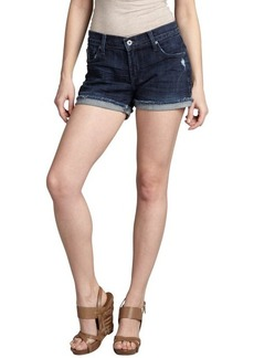 James Jeans gossip wash blue stretch denim 'Shorty' frayed shorts
