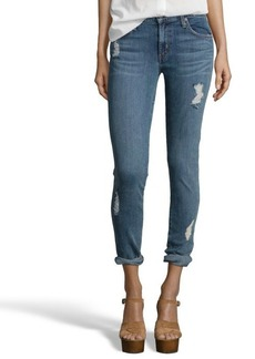 James Jeans light blue stretch distressed denim 'Crush' jeans