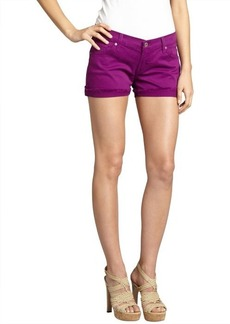 James Jeans violet stretch denim 'Shorty' frayed shorts