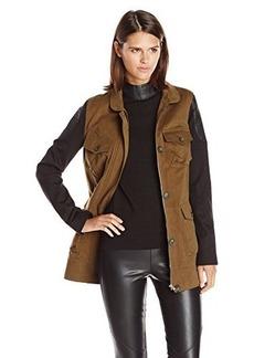 James Jeans Women's Ponte Sleeve Utility Jacket
