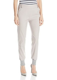James Jeans Women's Track Elastic Waist Pull On Pant, Silky Warm Grey, 24