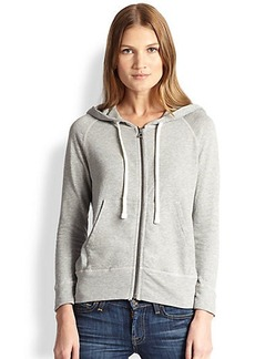 James Perse 1200 Hooded Cotton Zip-Front Sweatshirt