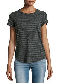 James Perse Argyle-Striped Cotton Jersey Tee, Charcoal/Green