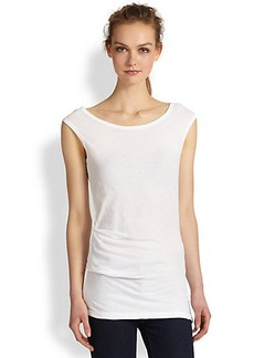 James Perse Asymmetrical Tucked Cotton Jersey Tee
