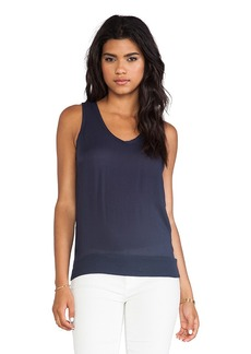 James Perse Blouson Chiffon Tank in Navy