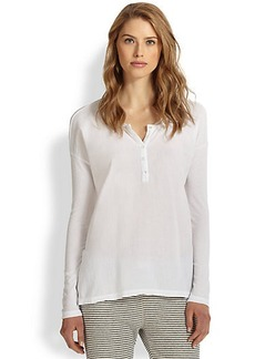James Perse Boxy-Fit Cotton Jersey Henley Tee