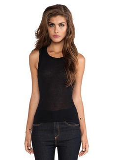 James Perse Cashmere Rib Extra Long Skinny Tank in Black
