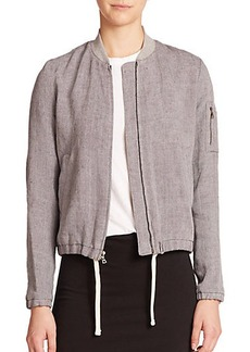 James Perse Coated Linen Bomber Jacket