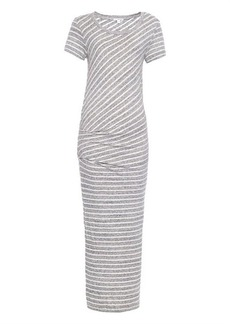 James Perse Collage striped cotton-jersey maxi dress