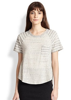 James Perse Contrast-Striped Cotton Jersey Tee