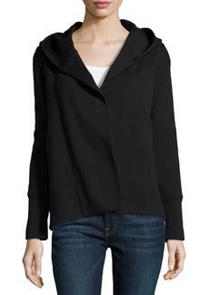 James Perse Cotton-Blend Hooded Open Cardigan, Black