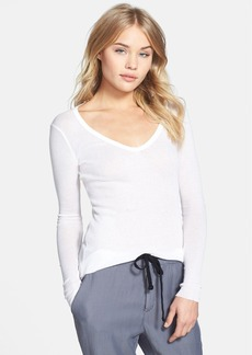James Perse Cotton Cashmere Long Skinny Deep V Tee