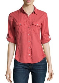 James Perse Cotton Contrast-Panel Shirt, Faded Red