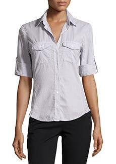 James Perse Cotton Contrast-Panel Shirt, Light Purple