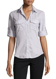 James Perse Cotton Contrast-Panel Shirt