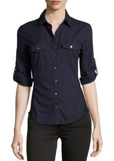 James Perse Cotton Contrast-Panel Shirt, Navy