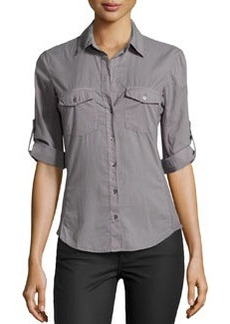 James Perse Cotton Contrast-Panel Shirt, Quarry