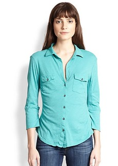 James Perse Cotton Jersey Button-Front Shirt