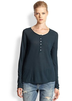 James Perse Cotton Jersey Henley Top