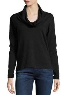 James Perse Cowl-Neck Long-Sleeve Pullover, Black